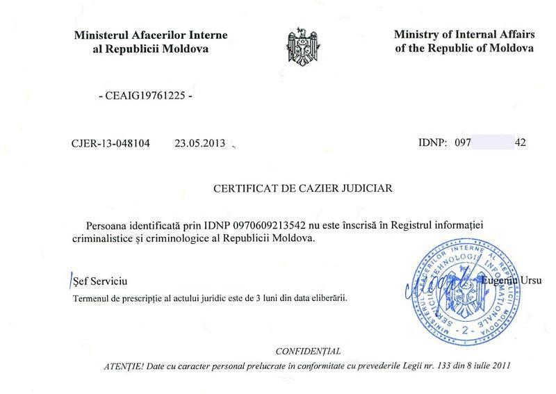 Certificat de Cazier Judiciar